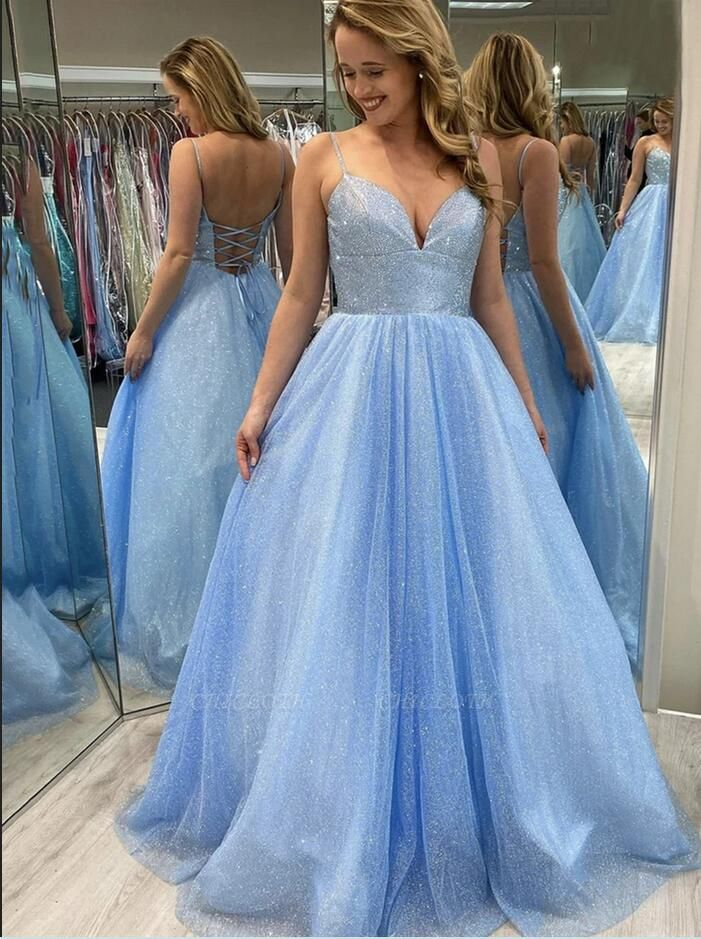 Sparkly Blue Long Prom Dresses | Evening Gowns Sequins