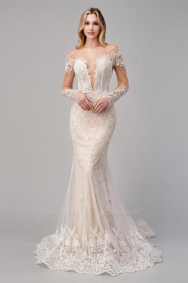 Design Lace Mermaid Wedding Dresses | Wedding Gowns Long Sleeves