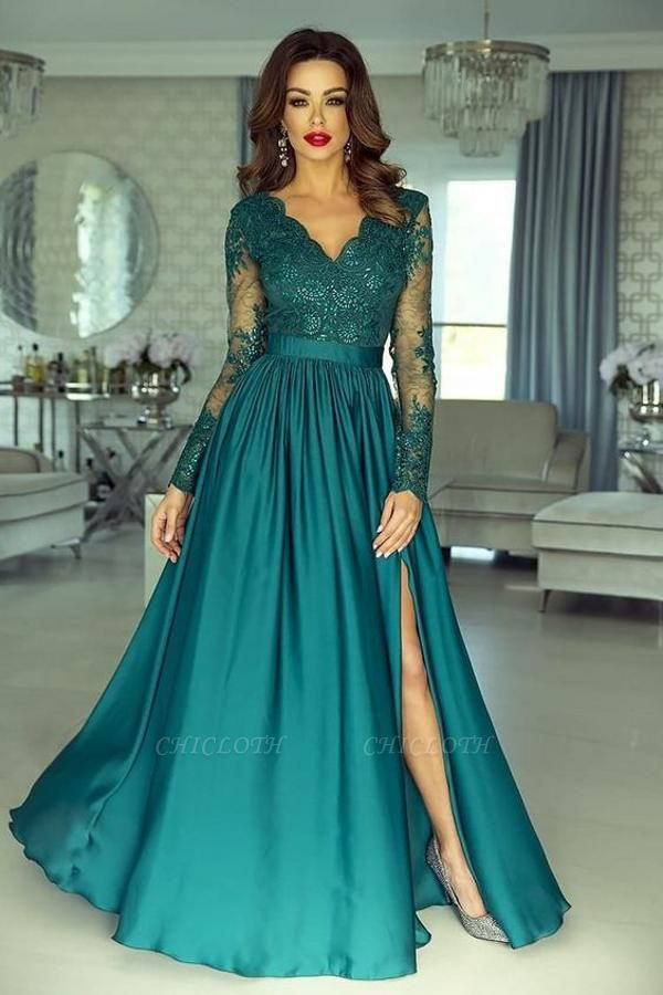 Green Long Prom Dresses   Lace Evening Dress With Sleeves