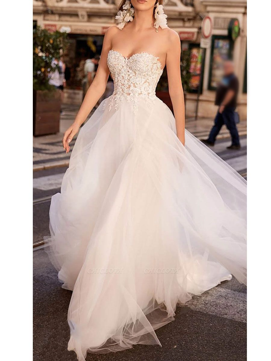 Vintage Wedding Dress Tulle Sweetheart Neck Sleeveless A Line Lace Flora Bridal Gowns With Train