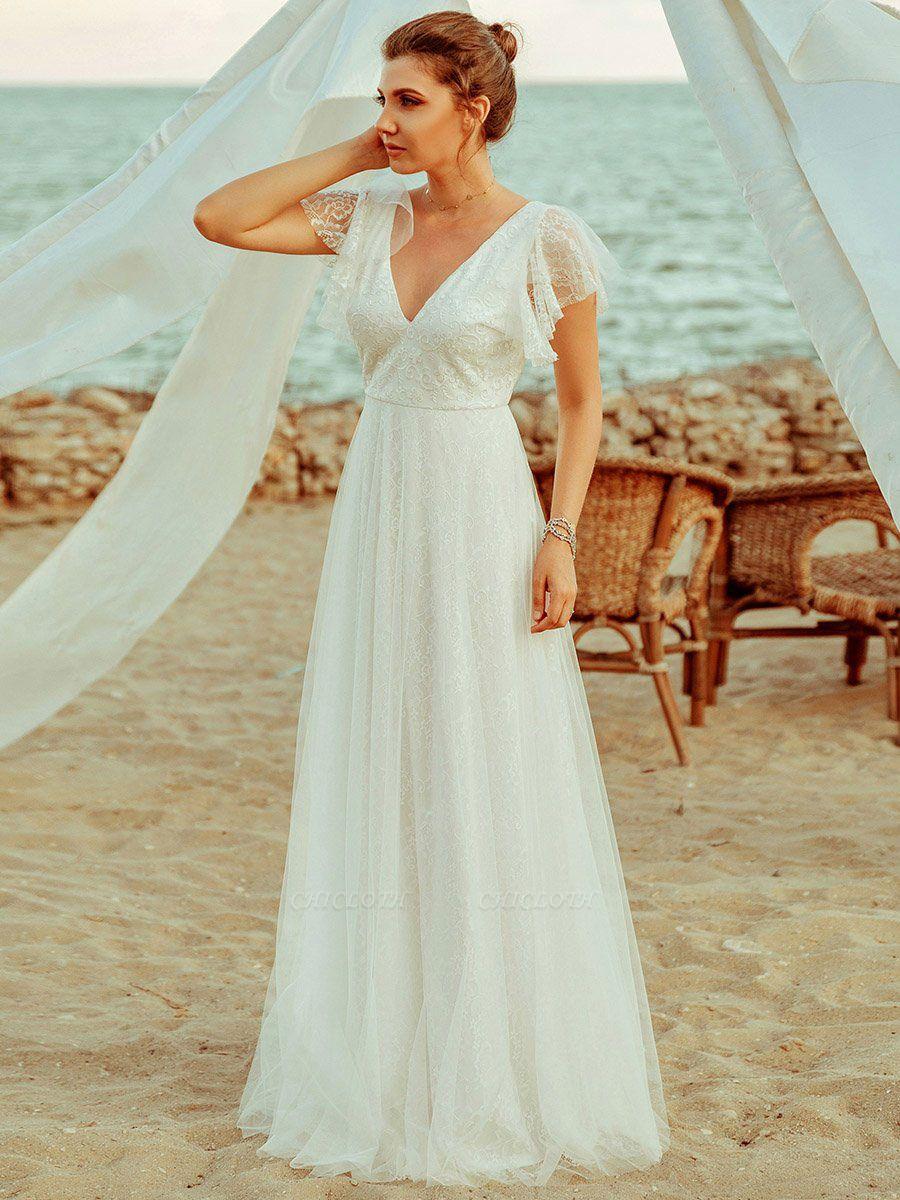 Cheap Wedding Dresses 2021 A Lne V Neck Short Sleeve Floor Length Tulle Beach Wedding Party Dresses Bridal Gowns