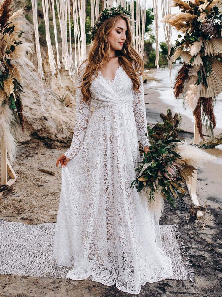 Wedding Gowns With Train V-Neck Long Sleeves Floor-Length Ivory Lace Wedding Gowns