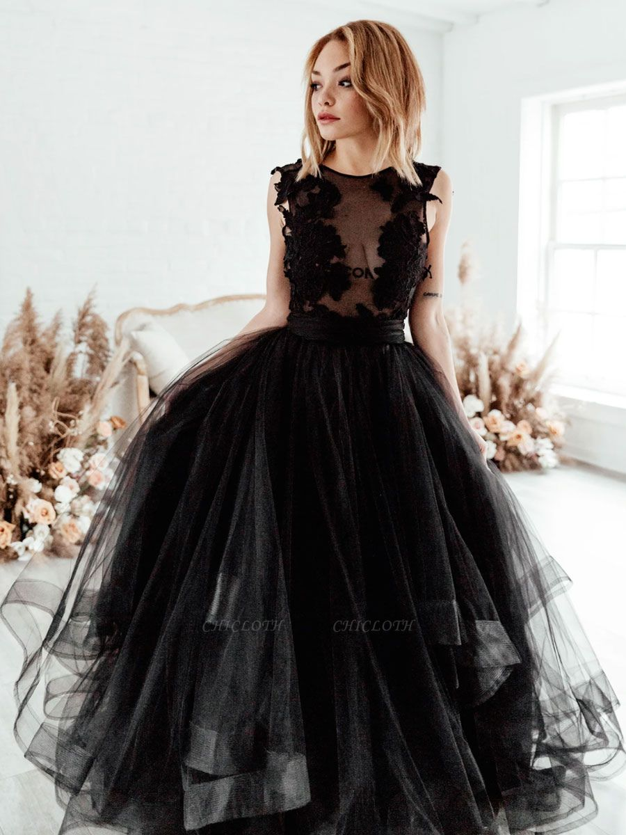 Black Bridal Dress A-Line Illusion Neckline Sleeveless Backless Applique Floor-Length Lace Tulle Bridal Gowns