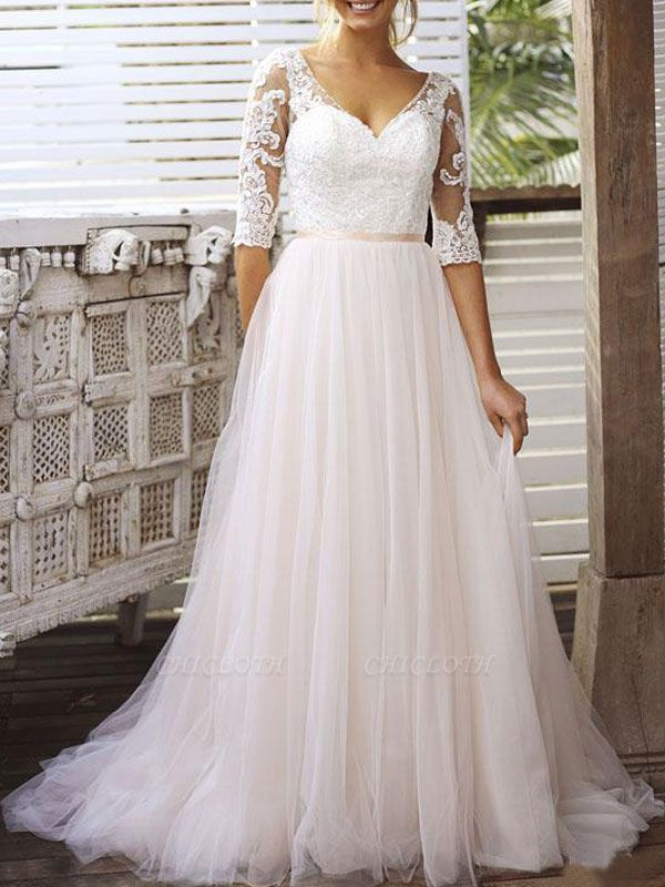 Wedding Gowns A Line V Neck Half Sleeves Lace Tulle Bridal Gowns With Train
