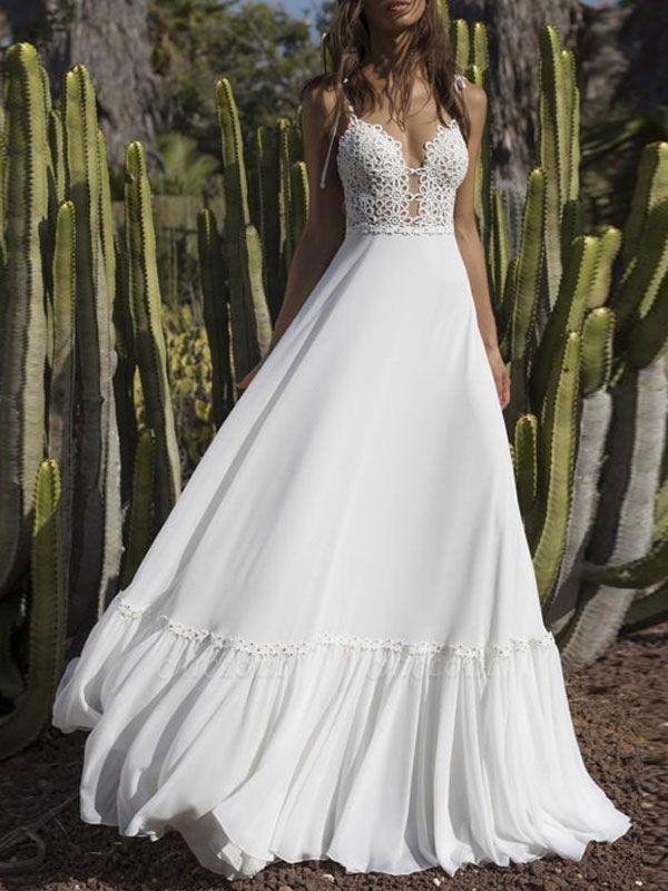 Boho Wedding Gowns 2021 Chiffon V Neck A Line Straps Sleeveless Bows Lace Bridal Gowns Ruffle Hem Bridal Dress For Beach Wedding