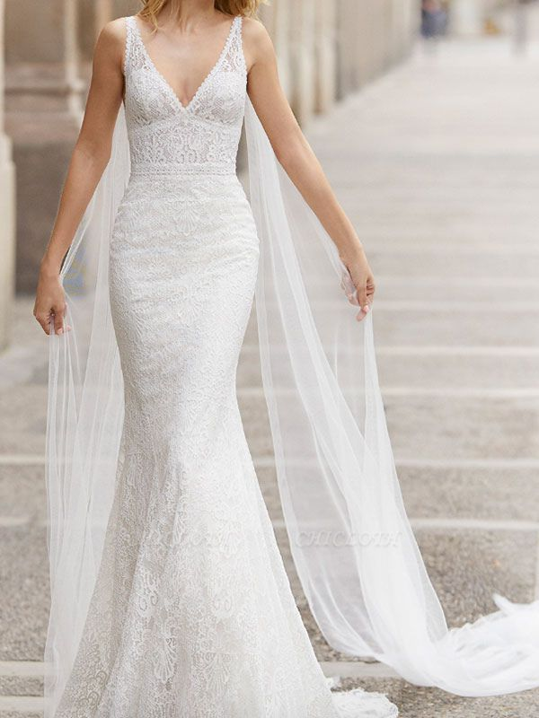 Lace Wedding Dress With Train Mermaid Sleeveless Lace Tulle V-Neck Wedding Gowns