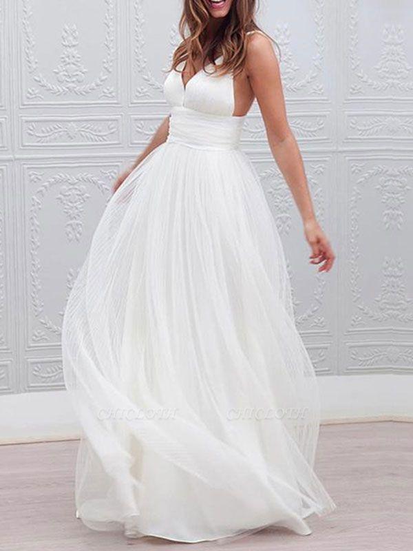 Vintage Wedding Dresses 2021 A Line V Neck Straps Backless Tulle Beach Wedding Bridal Dress