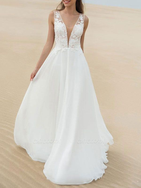 Cheap Wedding Dress A Line V Neck Sleeveless Lace Illusion Back Wedding Gowns