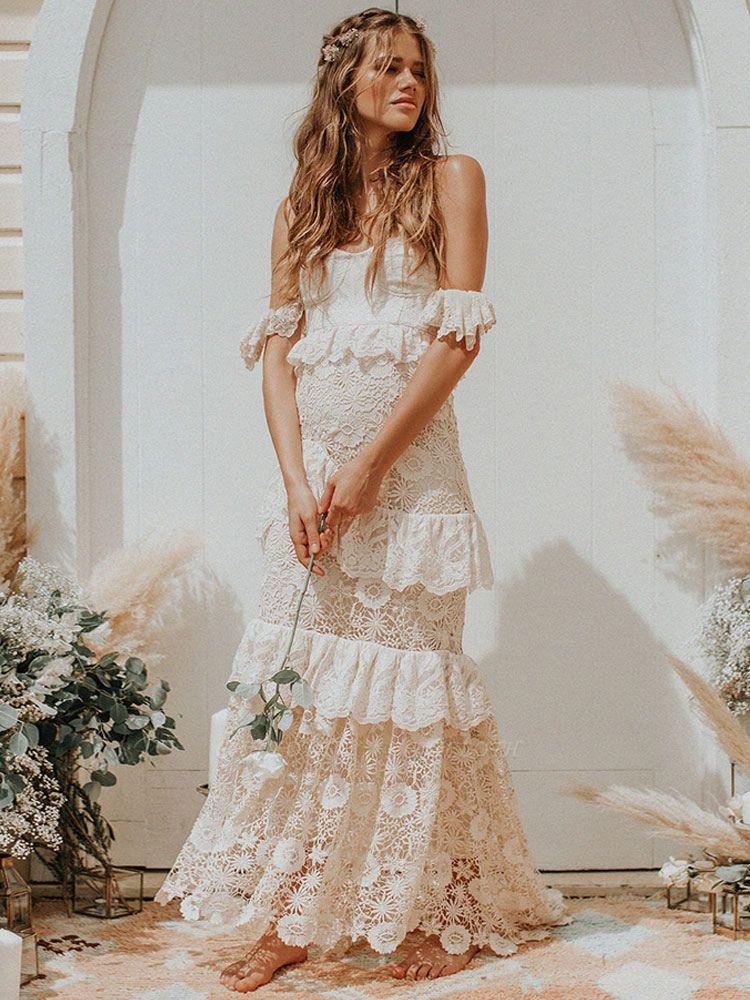 Boho Wedding Dress 2021 Off The Shoulder Floor Length Multilayer Lace Wedding Gowns