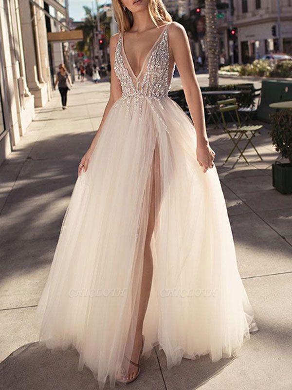 Bridal Dress 2021 A Line V Neck Sleeveless Beaded Court Train Front Split Tulle Wedding Gowns
