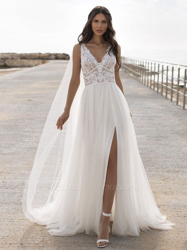White Cheap Wedding Dresses V-Neck Sleeveless Backless Natural Waist Lace Chiffon A-Line Long Bridal Gowns