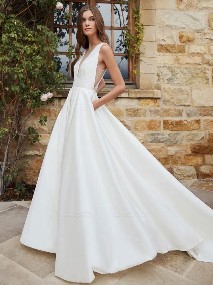 White Cheap Wedding Dress A-Line With Train V-Neck Sleeveless Pockets Satin Fabric Wedding Gowns
