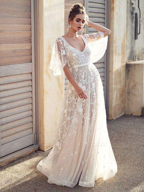 White Lace Wedding Dresses V Neck A-Line Wedding Dresses Short Sleeves Backless Bridal Gowns