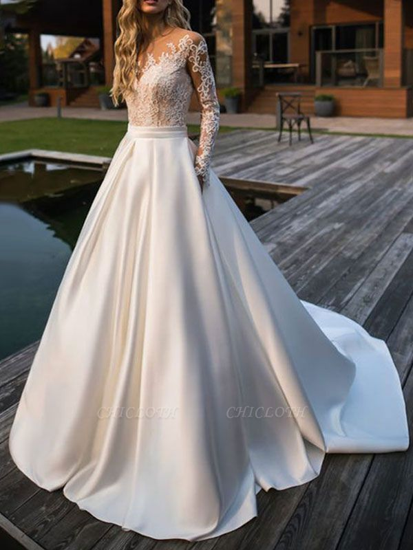 Wedding Dresses Princess Silhouette Jewel Neck Long Sleeves Natural Waist Lace Satin Fabric Bridal Gowns