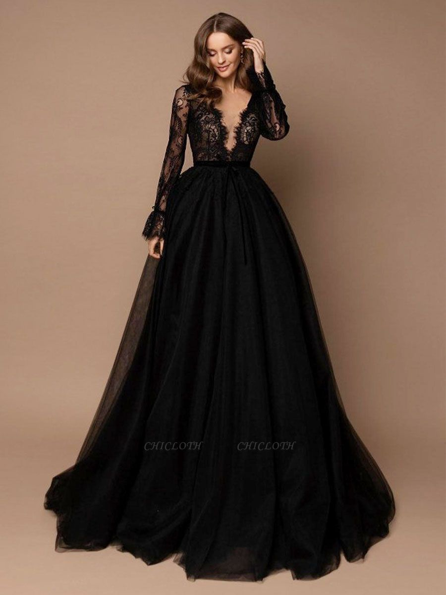 Black Wedding Dress With Train A-Line V-Neck Long Sleeves Lace Sweep Tulle Lace Wedding Gowns