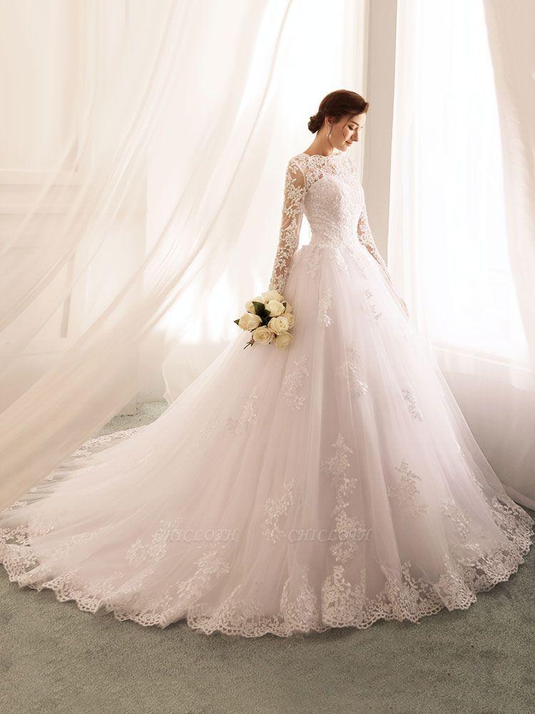 Bridal Dresses 2021 Princess Silhouette Bateau Neck Long Sleeve Natural Waist Lace Tulle Wedding Gowns