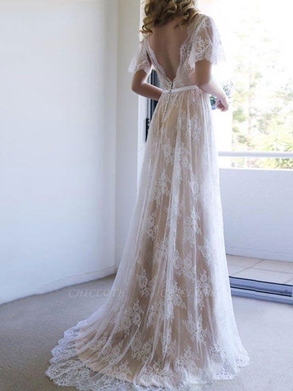 Cheap Wedding Dress 2021 V Neck A Line Short Sleeve Deep V Backless Lace Wedding Gowns
