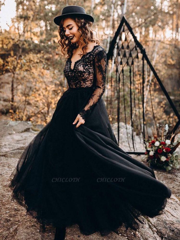 Black Bridal Dresses A-Line Designed Neckline Long Sleeves Natural Waistline Tulle Lace Sweep Bridal Gown