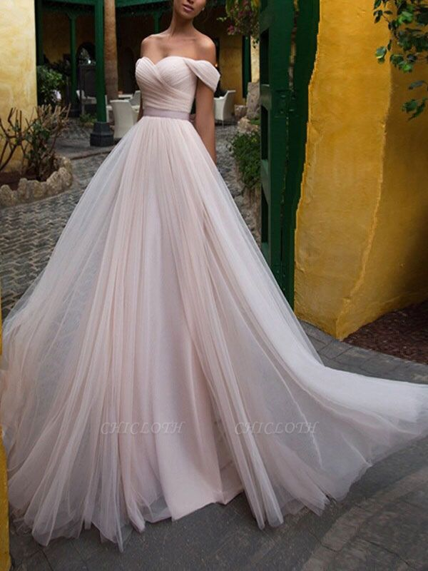 Wedding Gowns 2021 A Line Off The Shoulder Short Sleeves Sash Sweetheart Neck Bridal Gowns