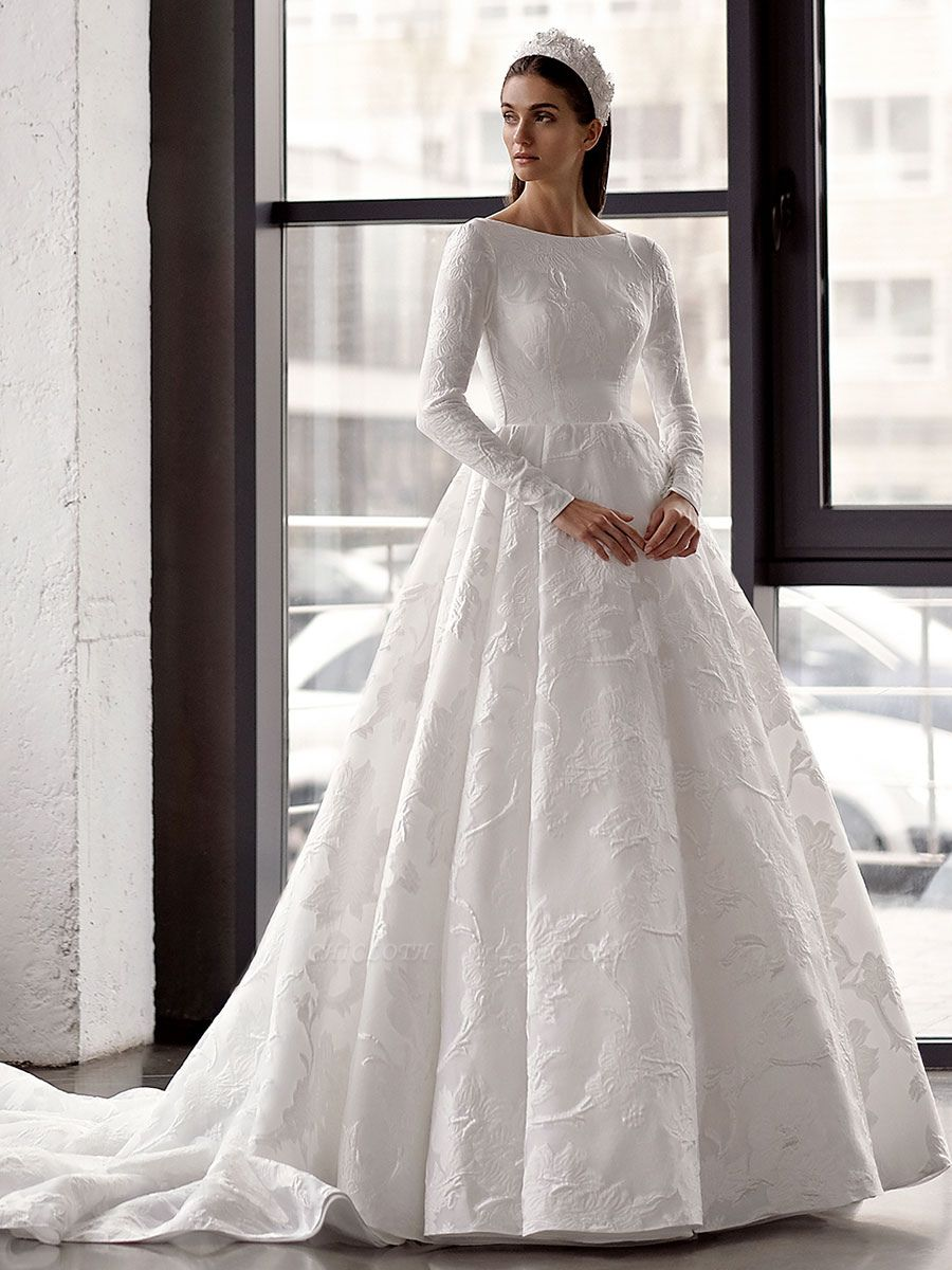 White Simple Wedding Gowns With Train A-Line Jewel Neck Long Backless Sleeves Satin Fabric Bridal Gowns