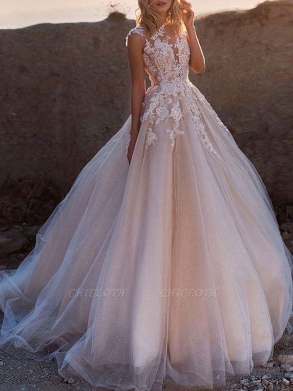 Wedding Dresses 2021 Princess Silhouette Jewel Neck Sleeveless Natural Waist Lace Soft Pink Tulle Bridal Gowns