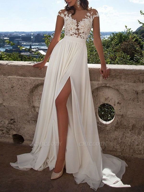Boho Wedding Dresses 2021 A Line V Neck Sleeveless Split Lace Appliqued Beach Bridal Gowns With Sweep Train