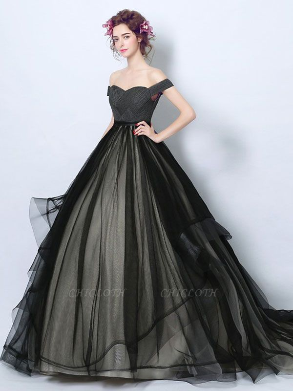 Gothic Loyal Wedding Dresses Princess Silhouette Sleeveless Pleated Tulle Court Train Bridal Gown