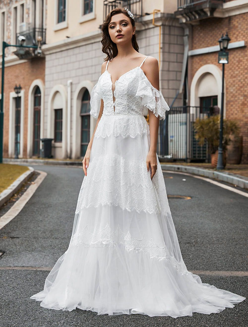 Boho Wedding Gowns Lace A-Line V-Neck Natural Waistline Beaded Wedding Gown