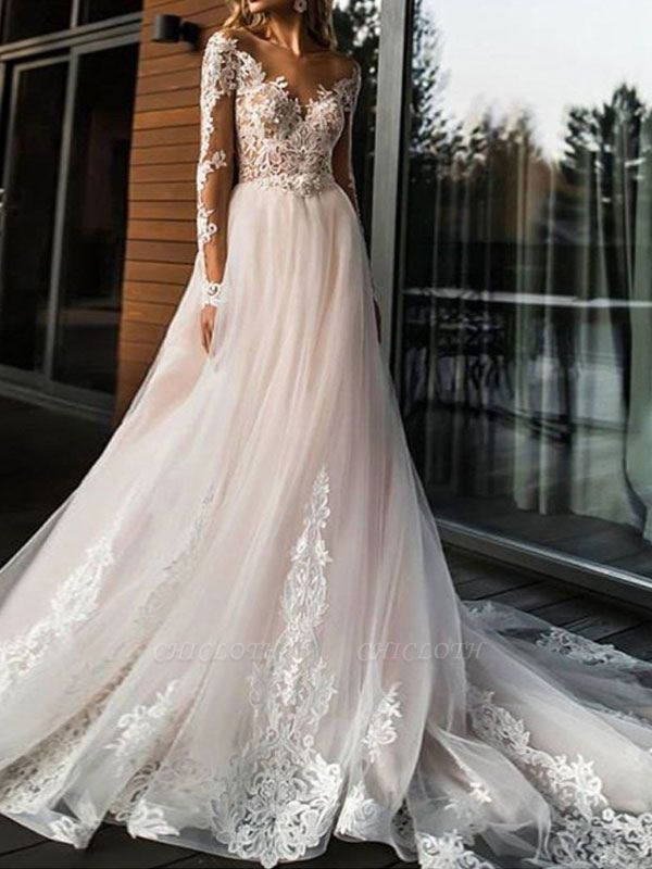 A Line Wedding Dresses V Neck Long Sleeve Lace Applique Tulle Bridal Gowns With Chapel Train