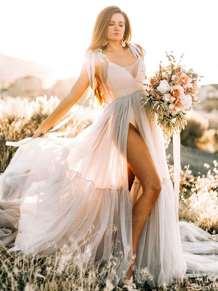 Maternity Wedding Gowns Light Grey V-Neck Sleeveless Tulle Long Bridge Gowns With Train