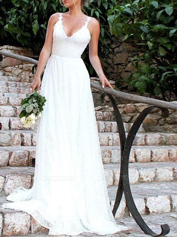 Simple Wedding Gownses 2021 A Line V Neck Straps Backless Floor Length Classic Bridal Gowns