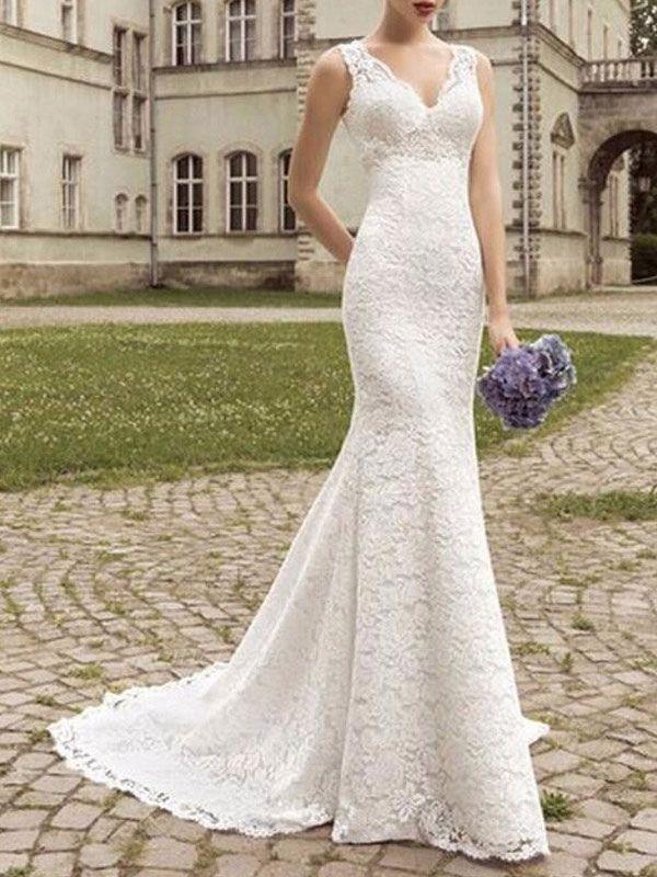 Lace Wedding Dress Mermaid V Neck Sleeveless Floor Length With Train Beach Bridal Gowns