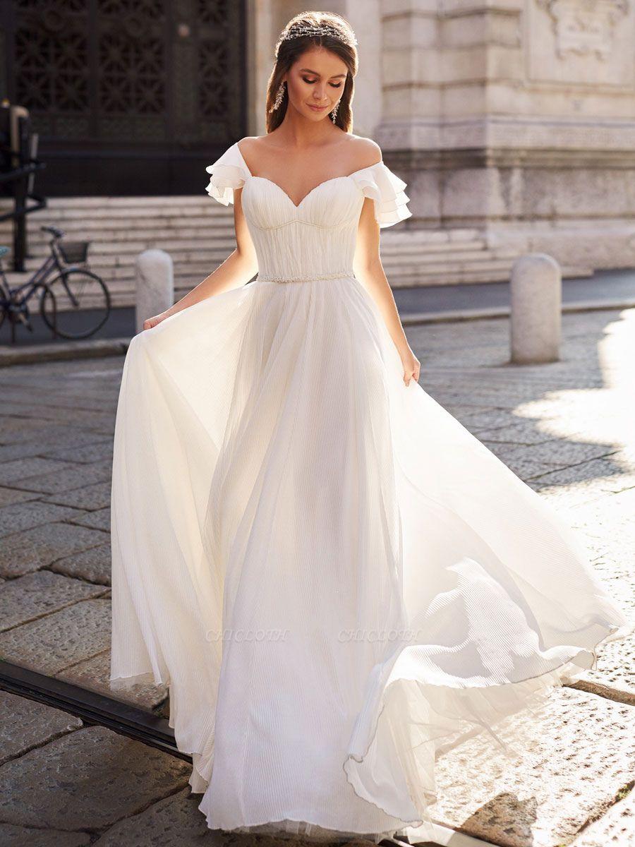 Cheap Wedding Dress A Line Off The Shoulder Natural Waistline Chiffon Wedding Gowns