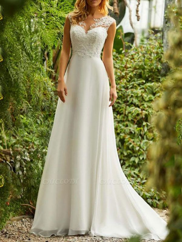 Cheap Wedding Dresses 2021 Chiffon A Line V Neck Sleeveless Lace Beaded Bridal Gowns With Train