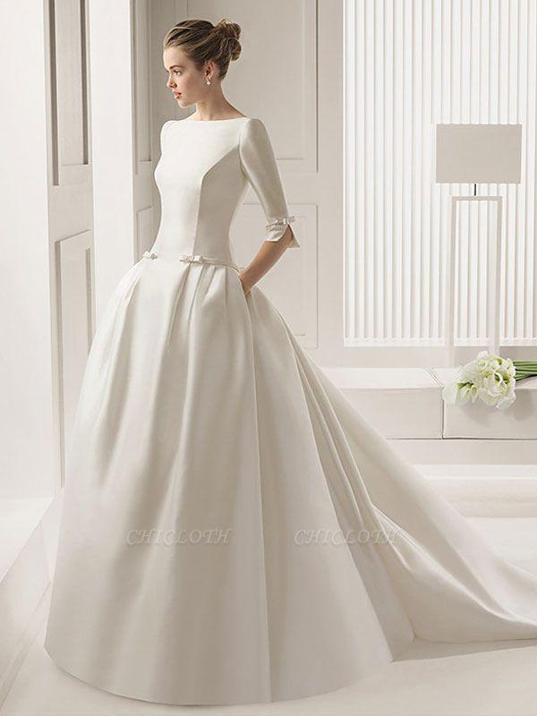 Bridal Dresses A-Line Chapel Bateau Neck Train 3/4 Length Sleeves Bows Satin Fabric White Bridal Dresses