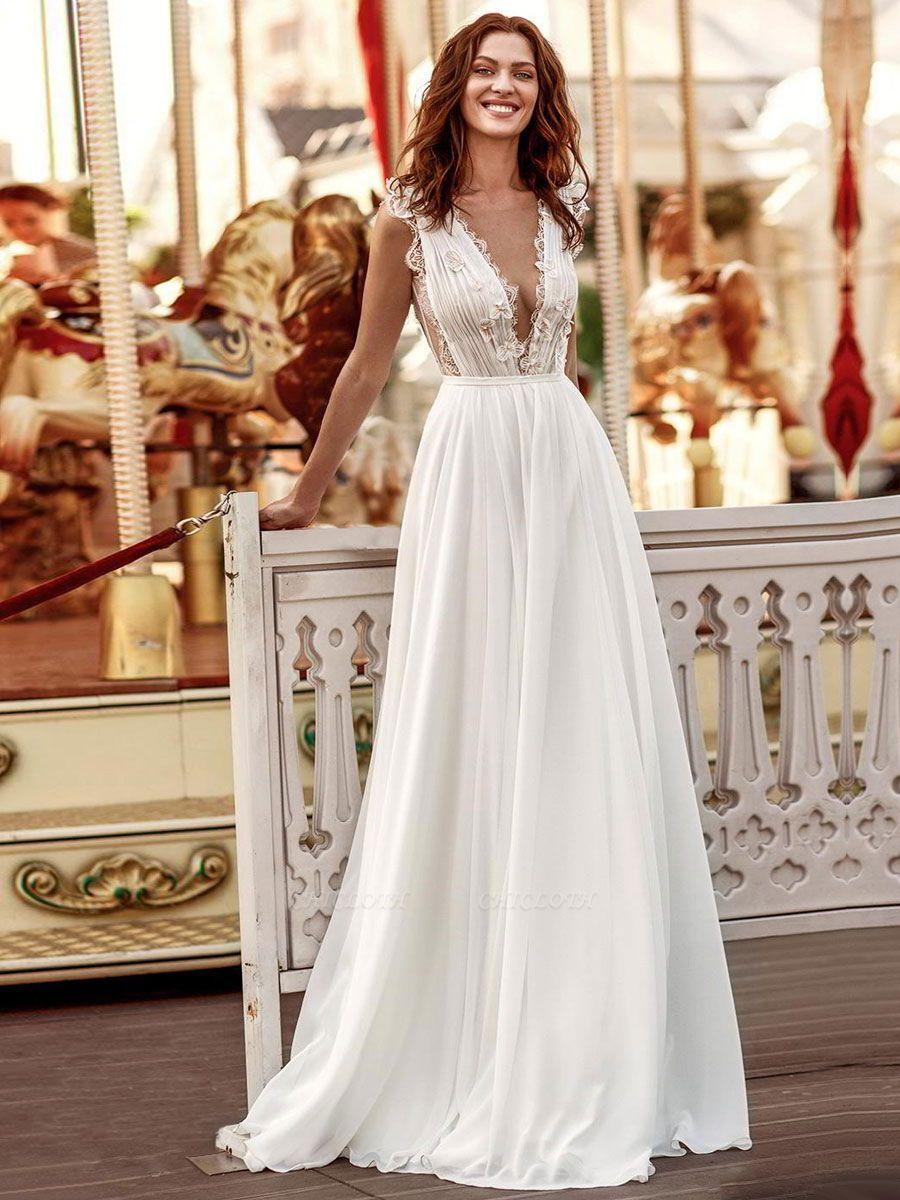 White Cheap Wedding Dresses A-Line Court Train V-Neck Natural Waistline Sleeveless Chiffon Lace Bridal Gowns