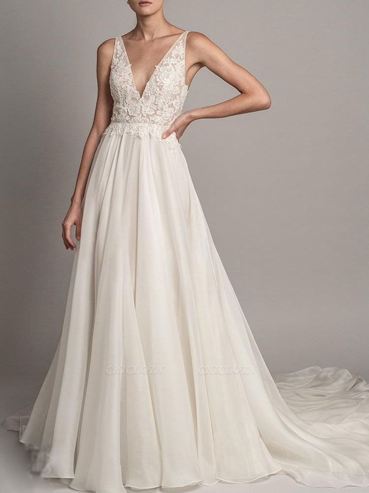Simple Wedding Gowns 2021 A Line V Neck Sleeveless Beaded Wedding Dresseses With Train