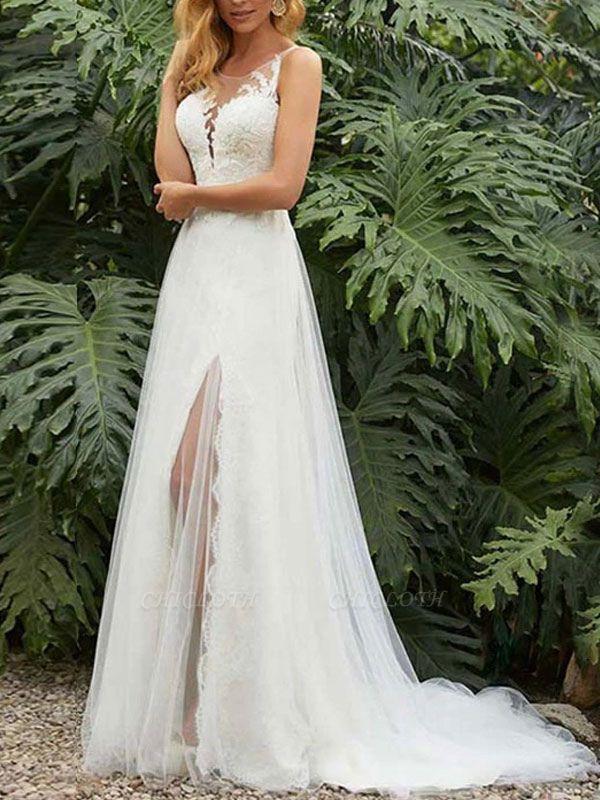 Vintage Wedding Dress Sheath Jewel Neck Sleeveless Split Front Bridal Gowns