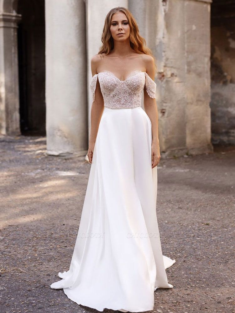 White Cheap Wedding Dresses Satin Fabric Strapless Sleeveless Cut Out A-Line Off The Shoulder Long Bridal Gowns