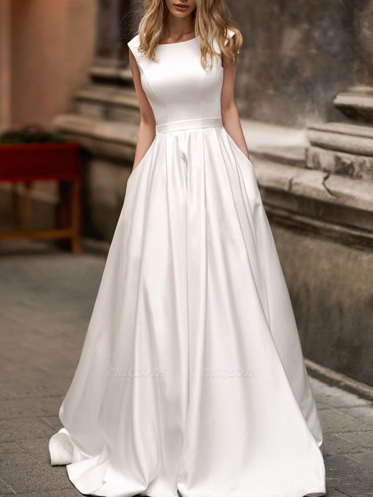 Vintage Wedding Dress 2021 A Line Bateau Neck Sleeveless Floor Length Satin Bridal Gown