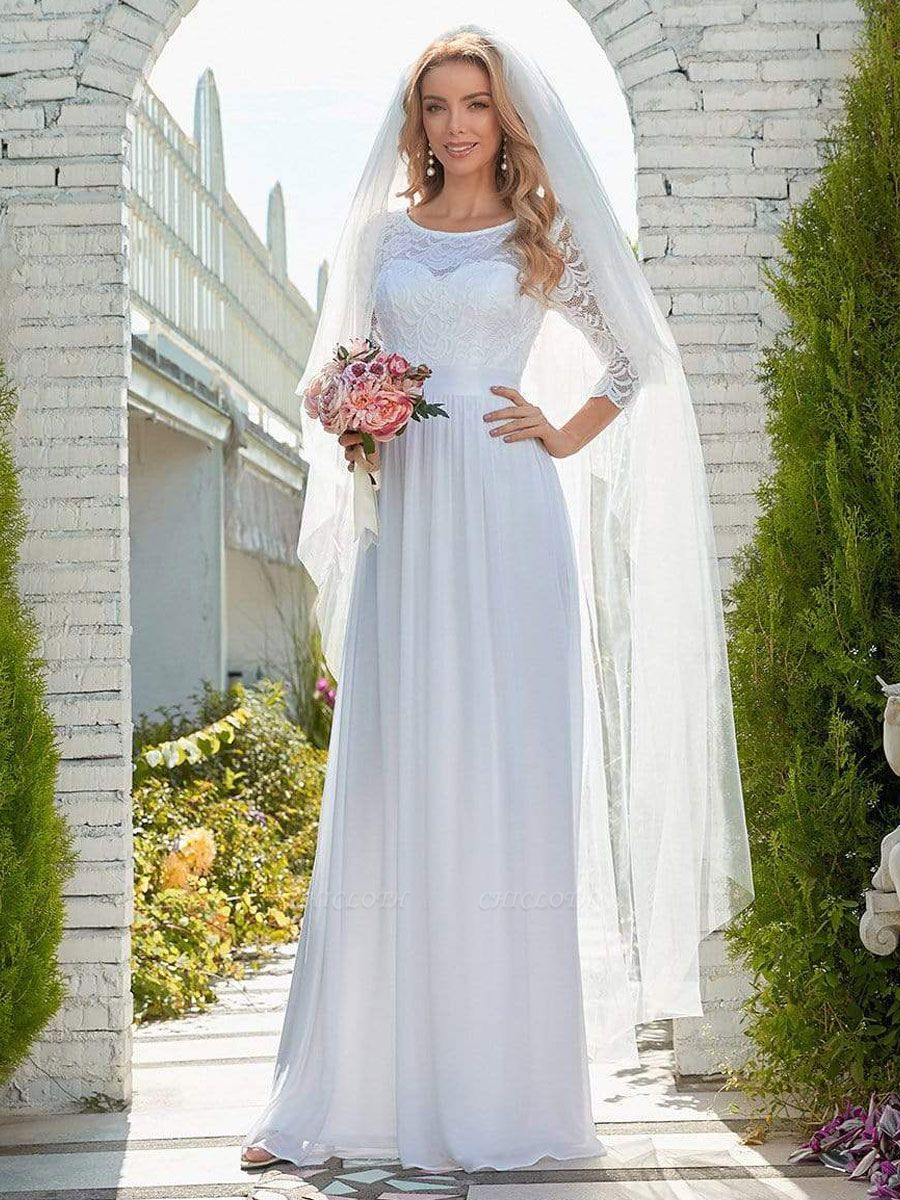 White Simple Wedding Gowns Lace Jewel Neck Lace Chiffon Half Sleeves Natural Waist A-Line Bridal Gowns
