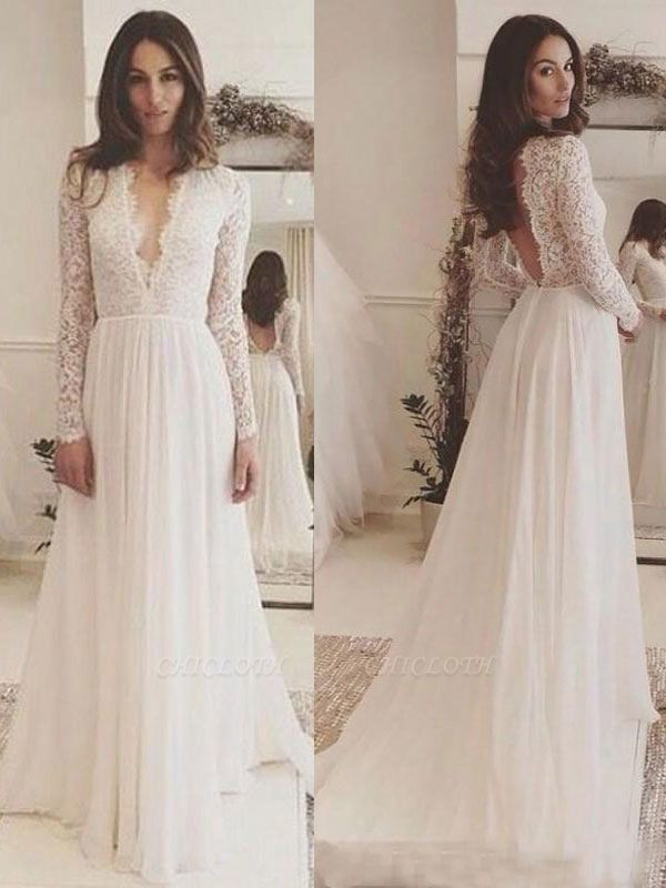 Vintage Wedding Dress Chiffon V Neck Long Sleeves Lace A Line Bridal Gowns With Train