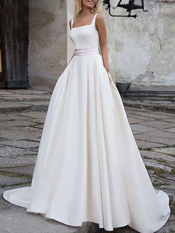 Cheap Wedding Dress Satin Fabric Square Neck Sleeveless Sash A Line Wedding Gowns