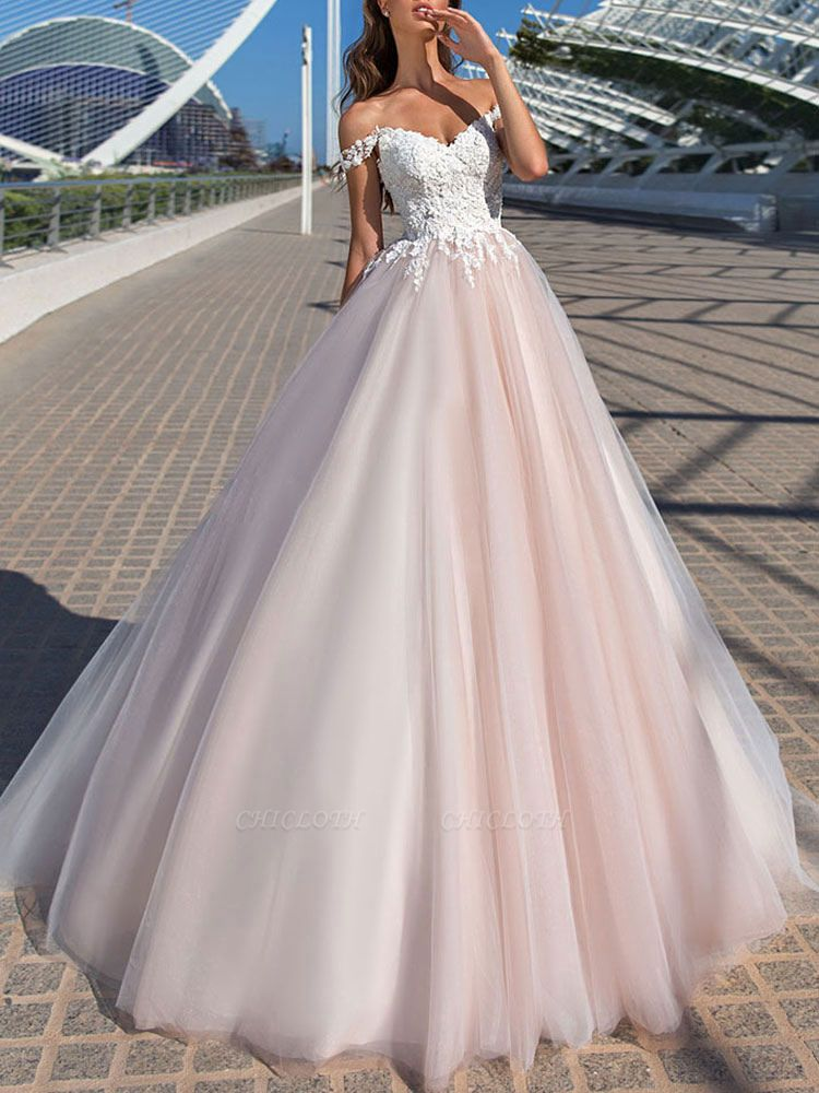 Wedding Dresses Princess Silhouette Court Train Off The Shoulder Sleeveless Natural Waist Lace Tulle Bridal Gowns