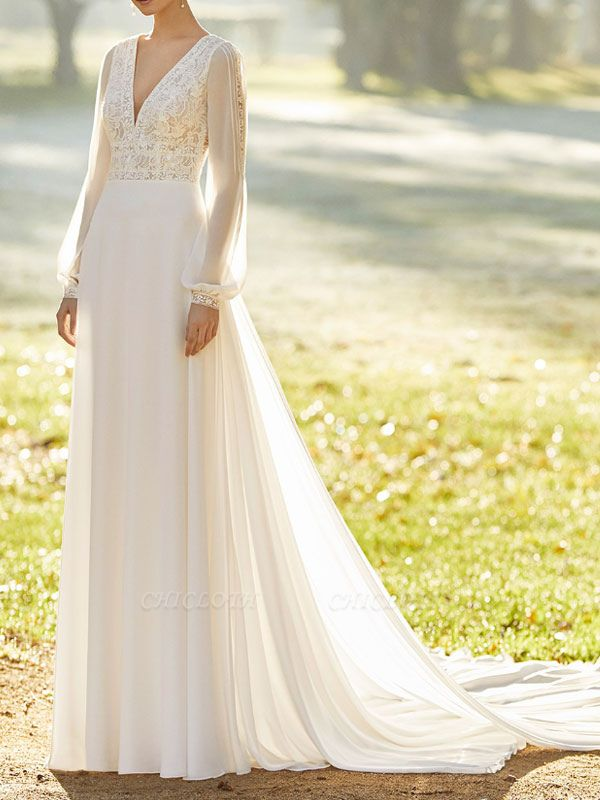 Ivory Wedding Dresses With Court Train A Line Long Sleeves Lace V Neck Bridal Gowns