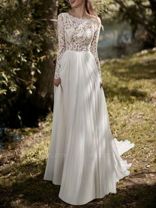 Boho Bridal Dresses 2021 Jewel Neck Long Sleeve A Line Floor Length Chffion Bridal Dress For Beach Wedding