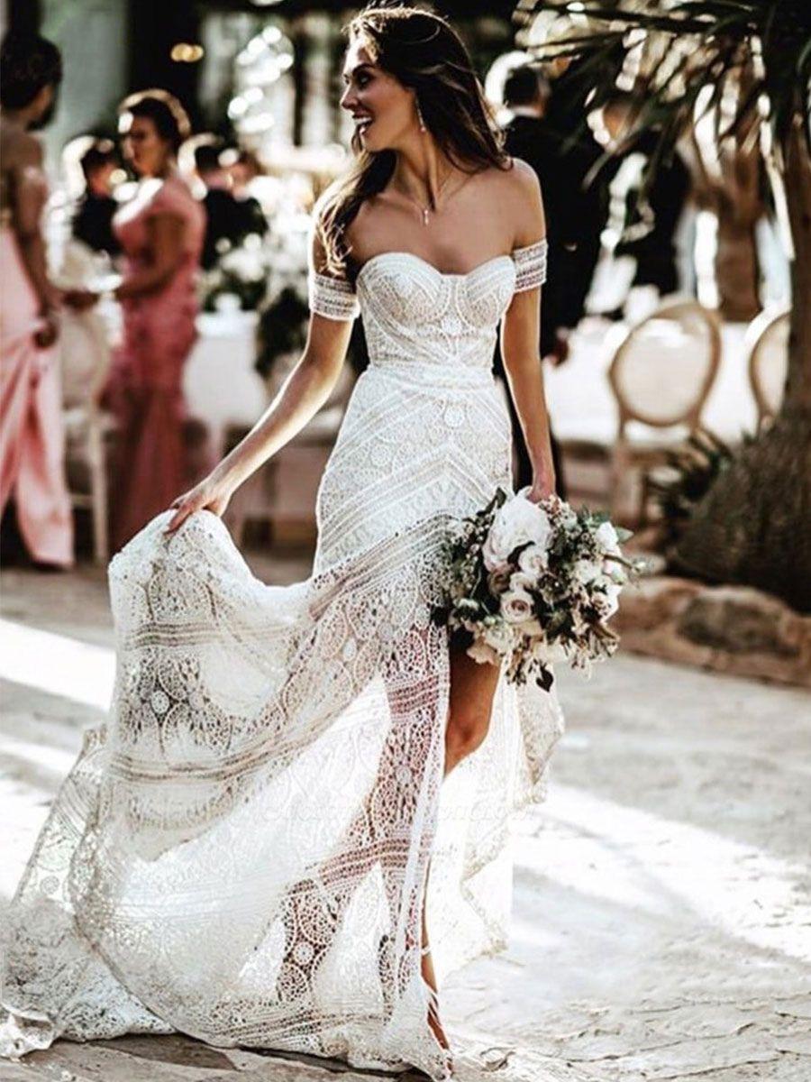 White Lace Wedding Gowns Floor Length Sheath Sleeveless Lace Sweetheart Neck Wedding Dresseses Train Dress