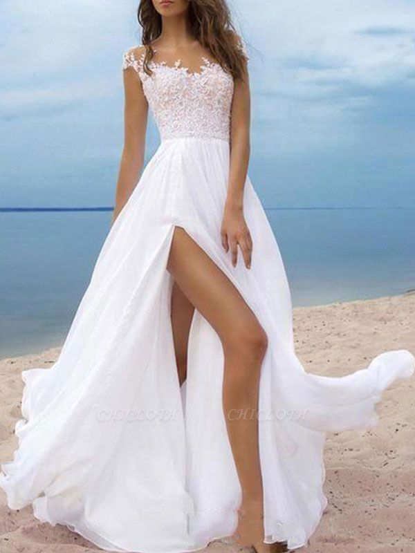 Boho Wedding Dresses 2021 Chiffon V Neck Short Sleeves A Line Split Front Bridal Gowns For Beach Wedding