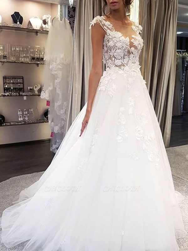 Wedding Dress Jewel Neck Sleeveless Lace Flora A Line Tulle Bridal Gowns For Beach Wedding