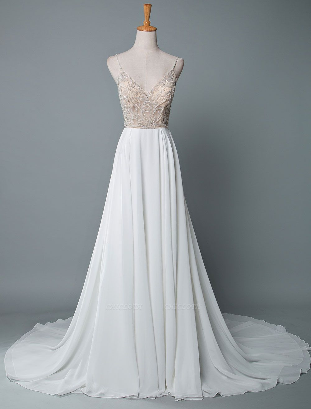 Simple Wedding Gowns A Line V Neck Sleeveless Embroidered Chiffon Bridal Gowns With Train